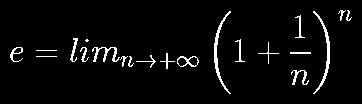 𝑒 = lim_(n→+∞)[1+(1/n)]<sup>n