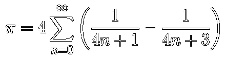 π = 4Σ(1/(4n+1) - 1/(4n+3))
